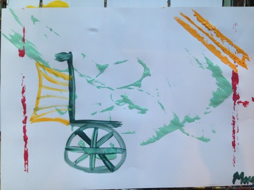 A combination of string and a brush enabled me to make this wheelchair with wings moving toward the light. I didn't even realize the symbolism until I completed it.